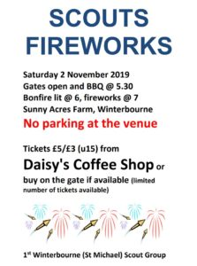 1st Winterbourne (St Michael) Fireworks Fundraiser @ Sunny Acres Farm